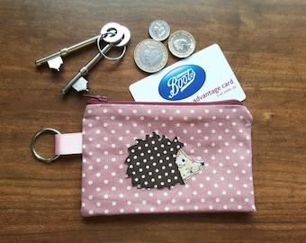 Hedgehog applique small zip key pouch, hedgehog coin purse, machine free motion embroidery, Hedgehog key holder, hedgehog clasp purse