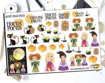 Hocus Pocus Kawaii Halloween Stickers, Fun Stickers for your Planner. Witchy Stickers for any & all Planners Erin Condren, Happy Planner etc
