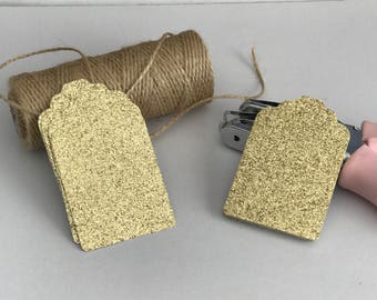 Gold Glitter gift tags/ glitter favor tags/ sparkly gift tags/ Paper bag tags