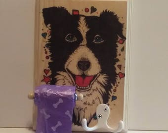 Boarder Collies, Dog Leash Holder, Waste Bag Dispenser, Decorative Wall Sign, Hanging Wall Decor