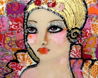 Painting woman portrait   ART Contemporary Canvas - figurative contemporary mixed media