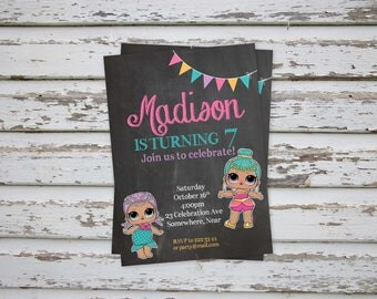 Lol Dolls Birthday Party Invitation, Lol Surprise Dolls Invitation, Lol Dolls Party, Lol Dolls Birthday, Lol Dolls Invitations PRINTABLE
