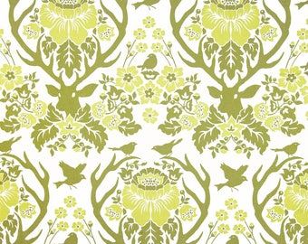 Birch Farm Antler Damask in sage by Joel Dewberry -  cotton quilting fabric by the yard