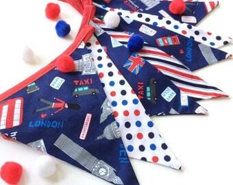 British London Decor, London Home Decor, London Bunting, British Home Decor, Union Jack Decor, London Bus Decor, Fabric Banner, Nessa Foye