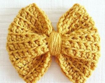 Crochet bow hair clip oversized bow textured crochet bow for girls hairbow