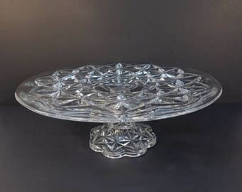 20% OFF SALE - Vintage Glass Pedestal Cake Stand, Cupcake Stand, Wedding Serving