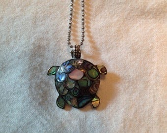 Vintage sterling and Mother of Pearl Turtle pendant/pin