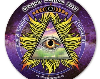 EC038 - Oregon - All Seeing Eye Total Solar Eclipse 2017 Souvenir Sticker (or MAGNET)