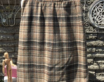 Vintage 1960's Plaid Wool Skirt * 24 inch Waist *  XS