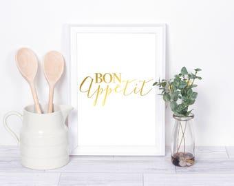Bon Appetit , Real Foil Print, Kitchen Decor