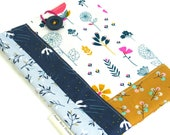 Blue Floral Patchwork Book Bag Sleeve Handmade Fabric Padded Book Tote with Closure Quilted Cover for Book Lover Gift for Her Summer Reading