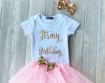 It's My Birthday Tulle Outfit - Tutu Outfit, Cake Smash, Birthday Outfit, Tulle Birthday Outfit, First Birthday, Turning One