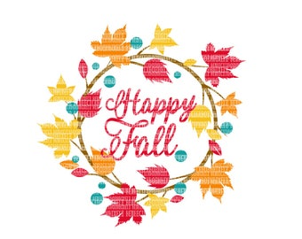 Happy Fall SVG Files, Iron On Decals, Fall SVG, Thanksgiving Cut Files, dxf for Cricut, Svg Files, svg For Cricut, SVG for Silhouette