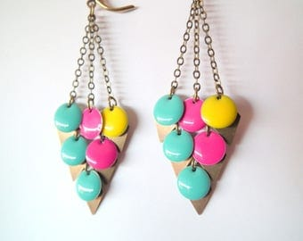 """Earrings """"My little talismans"""" colored and bronze sequins 4"""