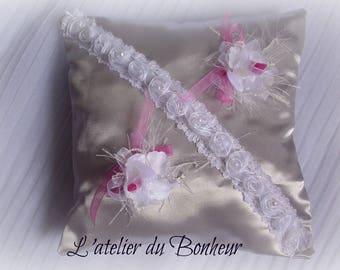 fuchsia gray white Duchess satin ring pillow
