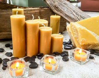 "100% Pure Beeswax Pillar candle-set of 4 beeswax candles-2"" diameter candle-handmade pure beeswax-pillar beeswax candles"