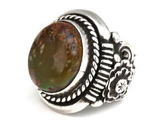 Mens turquoise ring Variscite Ring Sterling Silver Ring mens Large Ring Southwest jewelry Ben Begaye Navajo ring biker ring vintage ring