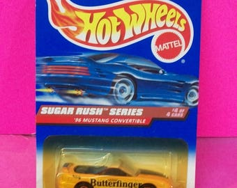 Hot Wheels 1997 Mattel Butterfinger Mustang Convertible Sugar Rush Series 1/4 New Blue Collector Card #741 1/64 Scale Diecast Car