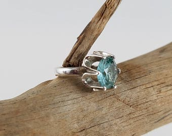 Sterling silver green blue apatite Mexico silver ring size 6.25 Taxco Mexico jewelry PB2780