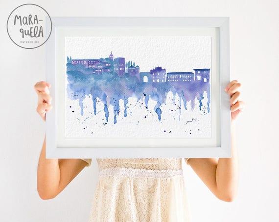 GRANADA Skyline Blue hues, watercolor. Acuarela de la ciudad Granada en tonalidades azules.