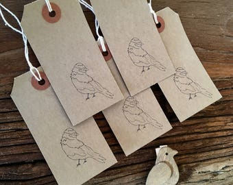 Bird Gift Tags x 5, Brown Tags, Screen Printed, Present Tags, Wedding, Birthday, Christening, Anniversary Present Labels