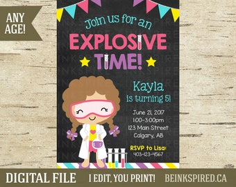 Girl Science Birthday Invitation, Science Party, Science Invite, Mad Scientist Birthday Invitation, Chemistry Birthday, KAYLA, DIGITAL FILE
