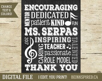 Personalized Music Teacher Appreciation Gift Art Print Sign, Teacher Gift, Music Gift, Music Notes, Gift for Music Teacher, DIGITAL FILE