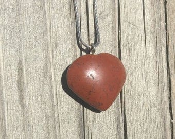 Red Jasper Heart Pendant Necklace