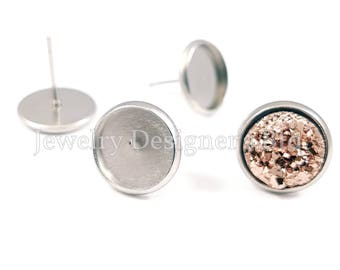 20pcs 10mm Hypoallergenic Surgical Stainless Steel Stud Earring Bezel Cabochon Settings Earrings Posts Cabochons Bezels Jewelry Supplies