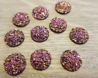 12mm Druzy Cabochon Faux Druzies Cabochons Gold Magenta Color Cabs Kawaii Moonstones Resin Cabochon Iridescent Glitter DIY Earrings