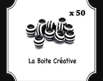 50 round beads stripes black and white 8 mm Zebra STRIPED beads