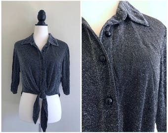 Vintage 1980s Black Grey Metallic Sparkly Iridescent Front Tie Button Up Shirt Top Blouse - Sz. Medium