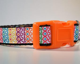 Dog collar, Medium dog collar, Bold dog collar, Bright collar, Multi Colored, cute collar, Adjustable collar, Unique dog collar, Abstract