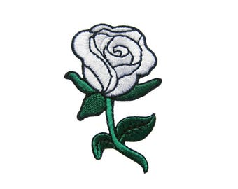 White Rose DIY Applique Iron on Patch
