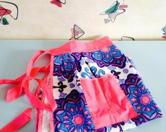 Bright, Pink & Purple,  1970s, Towelling Apron
