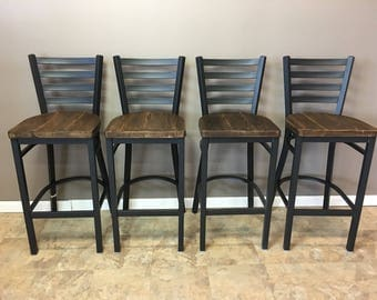 Reclaimed Bar Stool| Set of 3 | In  Black Metal Finish | Ladder Back Metal | Restaurant Grade -30 Inch High Barstool