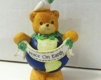 "Vintage Retro Enesco 1990's Lucy & Me Peace On Earth Teddy Bear Handpainted Ceramic 3"" Figurine Designed by Lucy Riggs"