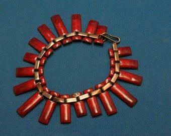 Vintage Lisner Red Enamel On Copper Fringe Bracelet