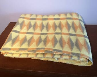 Orange Yellow and Taupe Diamond Geometric Retro Wool Blanket - Bed Throw - Vintage Throw - Picnic Blanket - Bedspread - Tetem Danish Design
