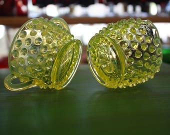 Fenton Topaz Opalescent Hobnail Vaseline Glass Sugar and Creamer Set