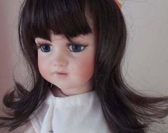 11/12inch Economy Long Straight Dolls Wig in Dark Brown with ribbon