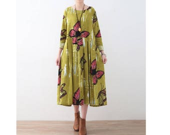 Womens Autumn Vintage Loose Fitting Round Collar Long Sleeve Printed Floral Cotton Linen Robe Dress, Casual Dress, Long Dress, Fall Dress