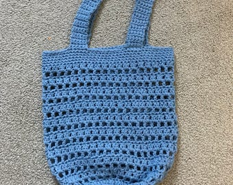 Blue Bernat Handicrafter 100% cotton crochet market/multi-use tote bag. Handmade