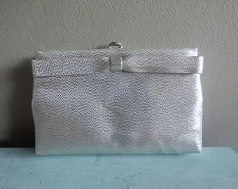 Vintage Silver lame clutch purse with bow 1960s evening bag purse After five made in USA