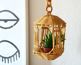 Vintage bohemian Wicker Hanging basket Planter Rattan boho 1970s 70er