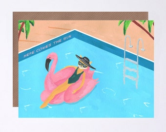 Fox and the Flamingo Pool Party Birthday Card, Here Comes The Sun, The Beatles, Illustrated by Hutch Cassidy