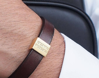 Personalized Bracelet for Him / Coordinates Bracelet / Mens Bracelet / Personalized Gift for Him / Father's Day gift / Groomsman gift - LB01