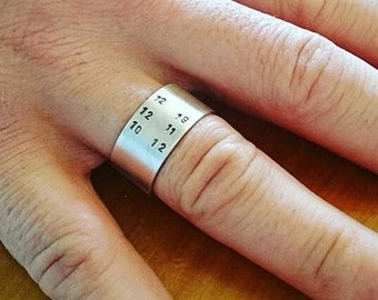 Personalised Date Ring. Hand Stamped Date Ring.  Custom Ring, Anniversary, Wedding, Birth Date Ring. Handmade Jewelry by ZaZing