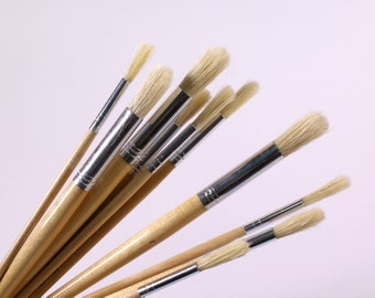 Short Handle Round Hog Bristle Brush Pack of 1 Lacquered Handle Brushes Choose the Brush Size