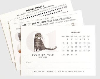 Cats of the World 2018 Desk Calendar / 12 Months Illustrated Cat Art Breeds Moon Phases Lunar Wood Stand Modern Minimalist Global
